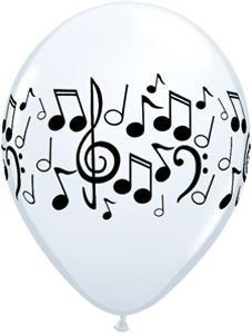 """Single Source Party Supplies - 11"""" Music Notes White Latex Balloons Bag of 10"""
