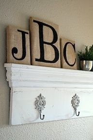 painted burlap decorations - Use instead of expensive wooden letters and do fun, colorful letters on the burlap?
