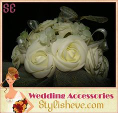 This bouquet is handmade white silk flower wedding bouquet made of silk flowers bridal with accessories( butterfly & stress) , buy it 24$ + shaping .