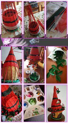 Cristina Sosio - Creativa. Casetta degli Elfi delle fragole. Realizzata con tubicini di carta. Diy Crafts For Adults, Crafts To Do, Clay Crafts, Arts And Crafts, Sun Paper, Paper Art, Newspaper Crafts, Paper Basket, Craft Videos