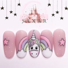 Animal Nail Designs, Unicorn Nails Designs, Unicorn Nail Art, Animal Nail Art, Nail Art Designs Videos, Cute Nail Art Designs, Fancy Nails, Pink Nails, Cute Nails
