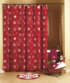 Decorate your bath for the holiday season with the Crimson Snowflake Bathroom Collection. This white-on-burgundy pattern is one you can use all winter long. The
