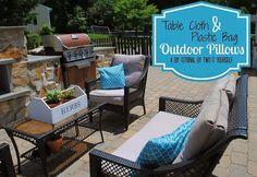 diy outdoor tablecloth and plastic bag pillows, crafts, decks patios porches, design d cor, furniture furniture revivals