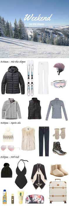 What to pack for a ski trip. Whether you're a snow bunny or a boarder chick, here's a list of everything you need to bring for your next vacation in the mountains. http://travelingchic.com/what-to-pack-for-a-ski-trip/