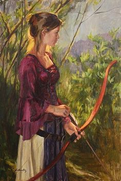 archer painting (But ditch the sleeves before you actually shoot ok? Archery, Rain Painting, Painting Competition, Female Characters, Archer Characters, Medieval Fantasy, Fantasy Art, Fairy Tales, Sculptures