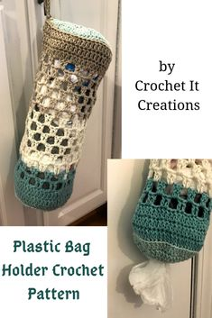 Plastic Bag Holder Crochet Pattern – Crochet it Creations Need somewhere to store those plastic grocery bags? Now you can crochet a plastic bag holder with this free pattern Plastic Bag Storage, Plastic Bag Holders, Crochet Gifts, Crochet Yarn, Tunisian Crochet, Blanket Crochet, Crochet Granny, Lace Knitting, Crochet Dolls