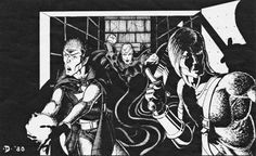 The lair of the vampire Clenmiir - This is why you have to tell the DM that your rear guard is watching behind the party. (Jeff Dee from AD&D module S2 White Plume Mountain, TSR, 1980-81 printings.)