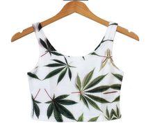 e445515f Pot Leaf Crop Tank Crop Tank, Fashion Prints, Love Fashion, Body Jewelry,