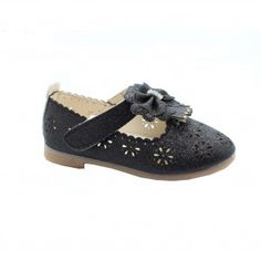 16dbfa9a09f4 Little Girls Black Glitter Rhinestone Scalloped Bow Dress Shoes 5-10 Toddler  Clogs Outfit