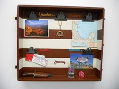Hanging Vacation &Travel Photo Picture Souvenir Momento Display - Repurposed antique wooden suitcase