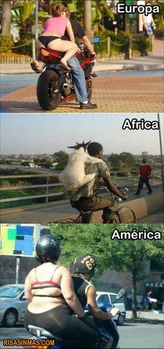 Pasajeros de motos según continente  Ampliar imagen:http://bit.ly/JQjKQt