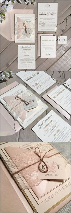 Blush and Gold Wedding Invitations / http://www.deerpearlflowers.com/rustic-wedding-invitations-from-etsy/