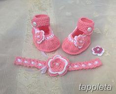 Пинетки туфельки и повязка на голову для девочки 0-9 мес.  розовый летний комплект, хлопок, вязанный, новорожденный, крестины, подарок by tappleta on Etsy