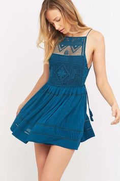 Free People Teal Emily Dress Small $128 FTC #5060