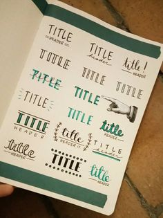 Section Title Fonts and Lettering for your Bullet Journal. This is great for adding flair to your daily entries. Bullet Journal Inspo, Bullet Journal Headers, Bullet Journal Aesthetic, Bullet Journal Notebook, Bullet Journal Ideas Pages, Bullet Journal Ideas Handwriting, Making A Bullet Journal, Notebook Art, Life Journal