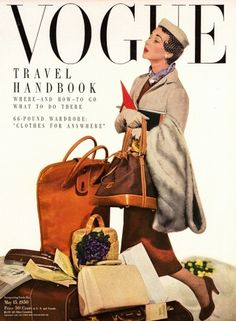 Take a Virtual Shopping Trip This Summer : Bon Voyage! Take a Virtual Shopping Trip This Summer - Vogue Vogue Vintage, Vintage Vogue Covers, Vintage Fashion, Fifties Fashion, Vogue Magazine Covers, Fashion Magazine Cover, Fashion Cover, Dorian Leigh, Mode Collage