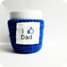 Funny Coffee Cozy Tea Cup Mug Cosy blue I like Dad by KnotworkShop, $15.00