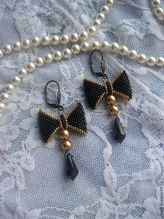 Купить Серьги-бантики (в серебре/в золоте) - черный, золотистый, золото, бантик, серьги-бантики