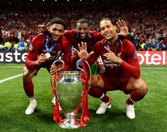 Joe Gomez (L), Gini Wijnaldum and van Dijk (R) celebrate with the Champions League trophy soccer Behind the scenes in Liverpool dressing room after Champions League Anfield Liverpool, Liverpool Players, Liverpool Fans, Liverpool Football Club, Liverpool Tattoo, Liverpool Legends, Camisa Liverpool, Liverpool Fc Wallpaper, Moda Masculina