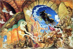 Josh Kirby PRINT 1995 Vintage Terry Pratchett Discworld Art Lords Ladies Bell