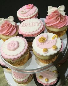 Pink and gold baby shower cupcake toppers