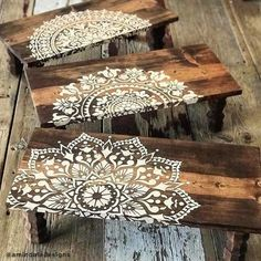 Make Reclaimed Wood Wall Art Using Mandala Stencils Use Wall Stencils To Craft Custom Reclaimed Wood Art Welcome back, my Cutting Edge Stencils friends. Crafting wooden wall art from old pieces of wood is super trendy right now. This DIY project has… Large Wall Stencil, Stencil Wall Art, Stencil Wood, Stencil Painting On Walls, Painting Art, Stencils Mandala, Mandala Art, Mandala Painting, Mandala Design