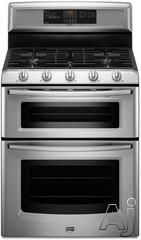 "$1434 Maytag MGT8775X 30"" Freestanding Double-Oven Gas Range with 5 Sealed Burners, 3.9 cu. ft. EvenAir Convection Lower Oven, Self-Cleaning, Speed Heat Burner and 2.1 cu. ft. Upper Oven"