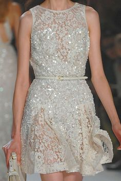 Pretty Sequin & Lace White Dress.