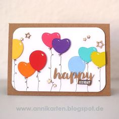 Rainbow colored birthday card with dies from #rayher and @memoryboxco #memorybox