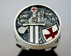 f290d642b837 Knights Templar Ring STERLING SILVER MASONIC Masons Handmade All Sizes !  Escudo De Armas