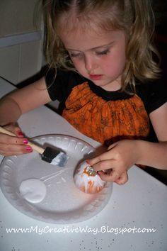 Kids Halloween Craft. Mod Podge Pumpkin