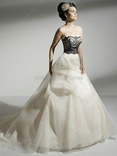 Ball Gown Strapless Organza Sweep Train Lace Wedding Dresses