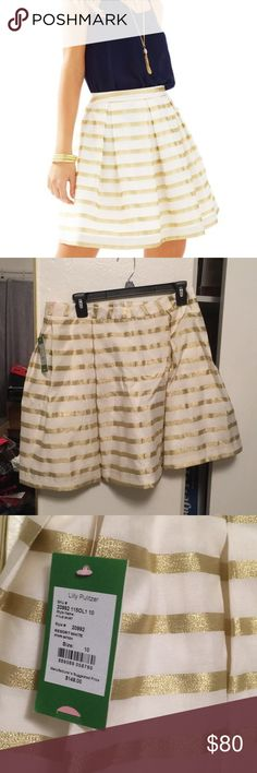 NWT Lilly Pulitzer Kelly skirt Beautiful skirt, cream and sparkling gold stripes. Lilly Pulitzer Skirts A-Line or Full
