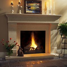 Beach House Chelsea Classic Stone Fireplace Mantel in Natural Stone Limestone