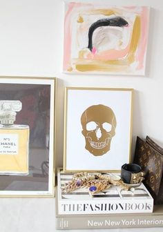 Golden skull wall art