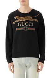 Gucci Cheetah Applique Logo Sweatshirt In 1082 Black Mens Fashion 2018, Gucci Fashion, Urban Fashion, Trendy Fashion, Runway Fashion, Best Hoodies For Men, Grunge Jacket, Fashion Logo Design, Fashion Designers