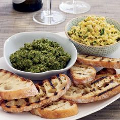 Like other cruciferous vegetables, broccoli rabe is packed with vitamins and minerals, including vitamins A, B and C. Chef Gabe Thompson turns it into Bruschetta Recipe, Pesto Recipe, Tostadas, Clean Eating Snacks, Wine Recipes, Veggie Recipes, A Food, Food Processor Recipes, Gourmet