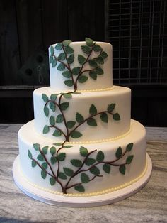 Rustic tree branch cake  This one uses pearls as a border! I ADORE THAT IDEA!