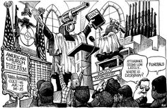 40 years of KAL cartoons – The Economist Let It Bleed, Nerd Humor, Gun Control, Conspiracy Theories, Political Cartoons, 40 Years, Religion, Politics, Shit Happens