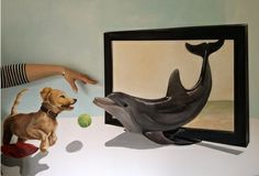 "Saatchi Online Artist Eka Peradze; Painting, ""Dolphin playing with dogs."" #art"