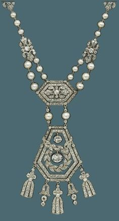 CARTIER A Belle Époque platinum, gold, natural pearl and diamond necklace, by Cartier, circa 1908