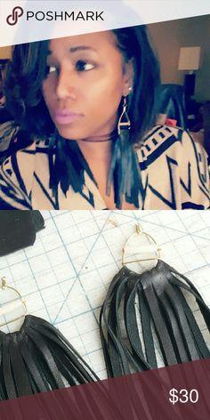 Fringe black Sneak peak in my lab while creating one of my Shyek Designs. CrystalSheri Jewelry Earrings