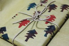 wrapping paper - cut and paint a sponge and press to brown paper.