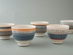 James and Tilla Waters  Decorated ceramic teabowls / Bowlenni te serameg, wedi'u haddurno  £40