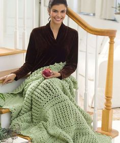 """Cluster Lace Throw - RHSS: 10 skeins Frosty Green.   Crochet Hook: K/10.5/6.5mm.  Throw measures 51"""" x 69"""".   GAUGE: 4 CL = 4""""; Rows 2-7 = 4"""" in pattern  free pdf from Red Heart"""