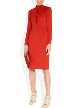 Valentino Rose-detailed stretch-wool crepe dress