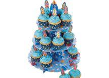 Porta cupcakes – 24 formas e bandeiras decorativas motivo espacial