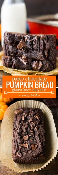 One bowl Paleo Chocolate Pumpkin Bread - a quick and easy dessert bread loaded with moist pumpkin and studded with melty chocolate chunks | Grain Free + Dairy Free + Refined Sugar Free
