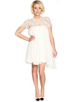 Lydia Rose Bright Sandy Lace Detail White Babydoll Dress  Roaring ...