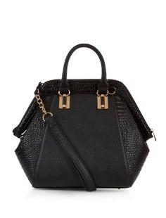 Black Croc Textured Panel Hexagon Tote Bag    New Look